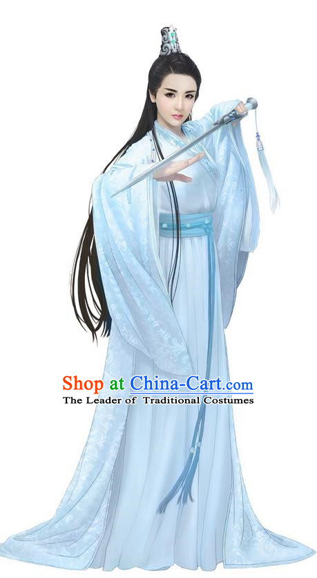 Traditional Ancient Chinese Elegant Female Swordsman Costume, Chinese Han Dynasty Imperial Princess Fairy Dress, Cosplay Chinese Peri Nobility Hanfu Trailing Clothing for Women