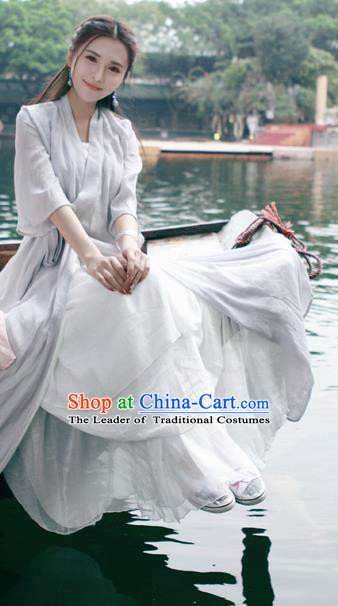 Traditional Ancient Chinese National Costume, Elegant Hanfu Mandarin Qipao Linen Grey Printing Dress, China Tang Suit Chirpaur Republic of China Cheongsam Upper Outer Garment Elegant Dress Clothing for Women