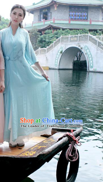 Traditional Ancient Chinese National Costume, Elegant Hanfu Mandarin Qipao Linen Blue Printing Dress, China Tang Suit Chirpaur Republic of China Cheongsam Upper Outer Garment Elegant Dress Clothing for Women