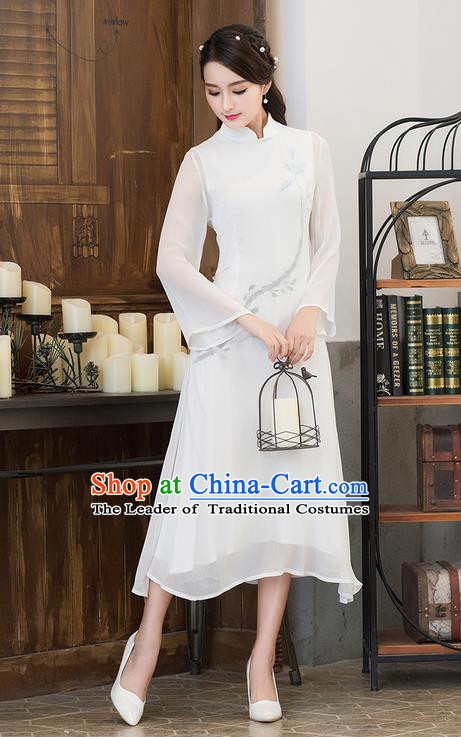 Traditional Ancient Chinese National Costume, Elegant Hanfu Mandarin Qipao Linen Double Layer White Dress, China Tang Suit Stand Collar Chirpaur Republic of China Cheongsam Upper Outer Garment Elegant Dress Clothing for Women