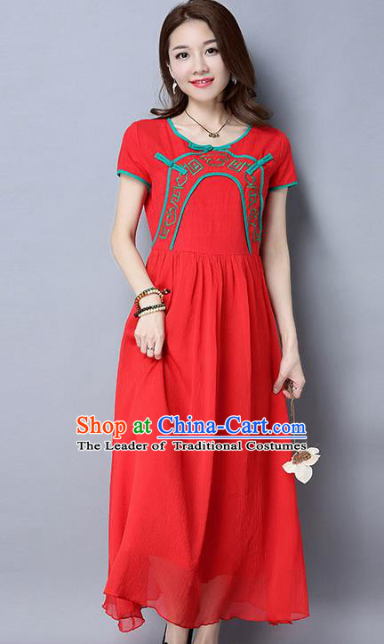 Traditional Ancient Chinese National Costume, Elegant Hanfu Qipao Linen Embroidery Red Dress, China Tang Suit Chirpaur Republic of China Cheongsam Upper Outer Garment Elegant Dress Clothing for Women