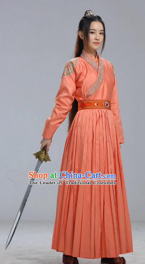 Traditional Ancient Chinese Elegant Female Swordsman Costume, Chinese Han Dynasty Imperial Princess Fairy Dress, Cosplay Chinese Chivalrous Hanfu Trailing Clothing for Women