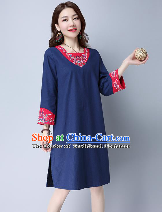 Traditional Ancient Chinese National Costume, Elegant Hanfu Mandarin Qipao Linen Patch Embroidery Navy Dress, China Tang Suit Cheongsam Upper Outer Garment Elegant Dress Clothing for Women
