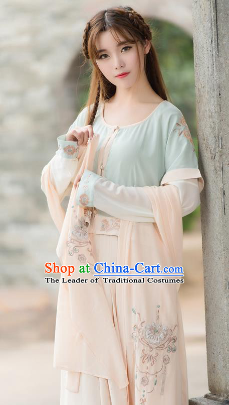 Traditional Ancient Chinese Costume, Elegant Hanfu Clothing Embroidered Blouse and Dress, China Tang Dynasty Princess Elegant Blouse and Skirt Complete Set for Women