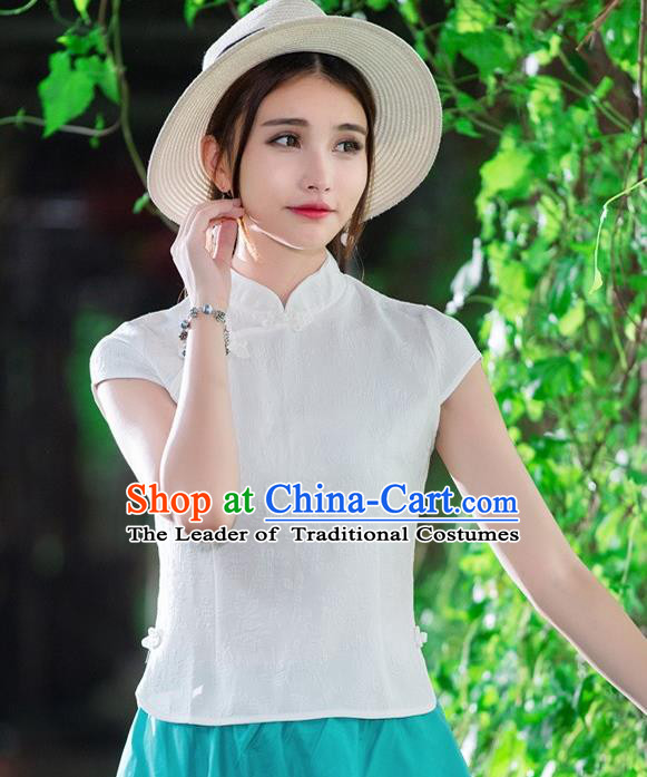 Traditional Chinese National Costume, Elegant Hanfu Slant Opening White Jacquard Shirt, China Tang Suit Republic of China Stand Collar Blouse Cheongsam Upper Outer Garment Qipao Shirts Clothing for Women