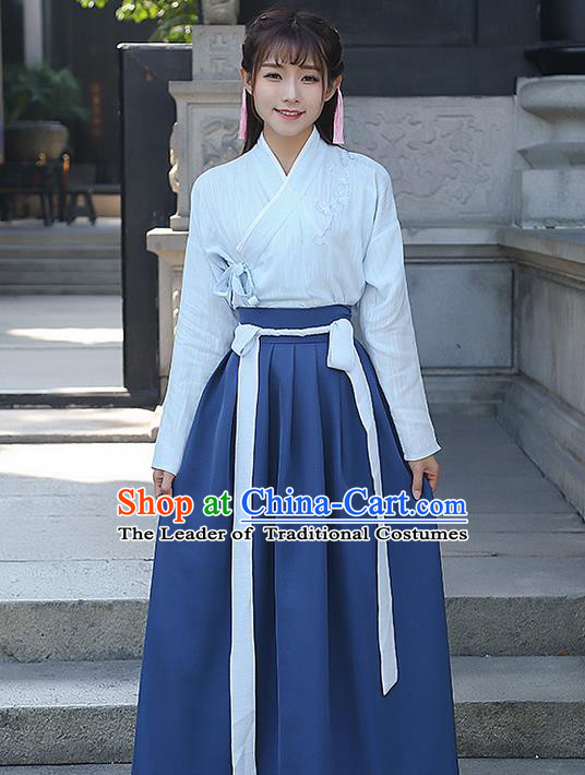 Traditional Ancient Chinese Costume, Elegant Hanfu Clothing Embroidered Slant Opening Blouse and Navy Dress, China Ming Dynasty Princess Elegant Blouse and Ru Skirt Complete Set for Women