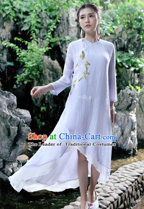 Traditional Ancient Chinese National Costume, Elegant Hanfu Mandarin Qipao Linen Double Layer Purple Dress, China Tang Suit Stand Collar Chirpaur Republic of China Cheongsam Upper Outer Garment Elegant Dress Clothing for Women