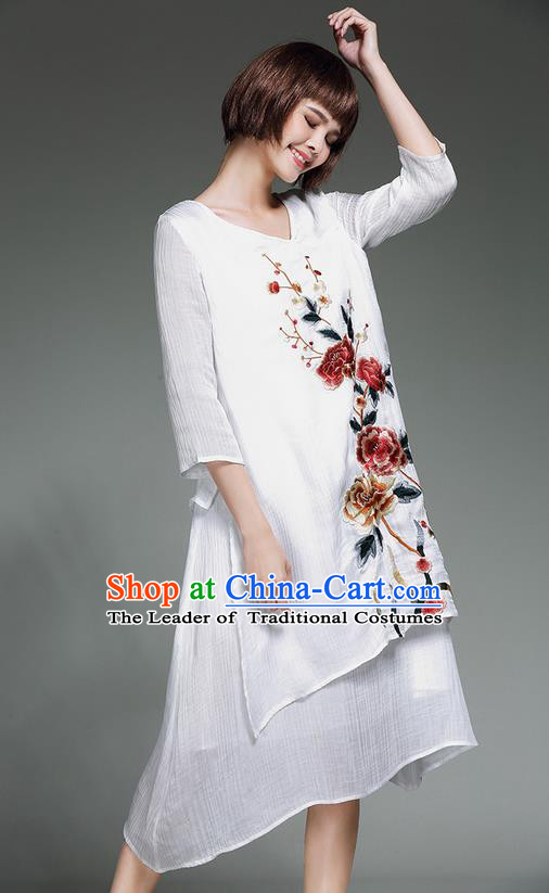 Traditional Ancient Chinese National Costume, Elegant Hanfu Embroidery Qipao Linen White Dress, China Tang Suit Chirpaur Republic of China Cheongsam Upper Outer Garment Elegant Dress Clothing for Women