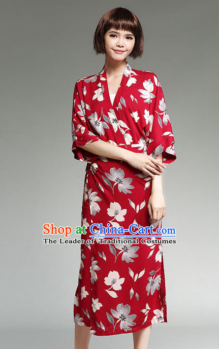 Traditional Ancient Japanese National Costume, Elegant Kimono Dress and Blouse Clothing for Women