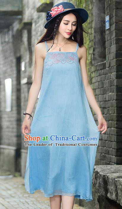Traditional Ancient Chinese National Costume, Elegant Hanfu Embroidery Blue Dress, China Tang Suit Cheongsam Upper Outer Garment Elegant Braces Dress Clothing for Women