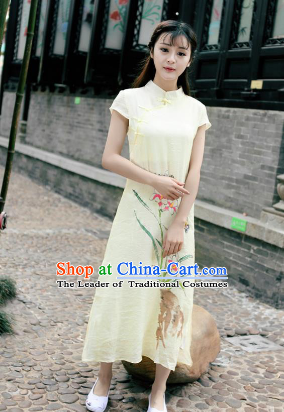 Traditional Ancient Chinese National Costume, Elegant Hanfu Mandarin Qipao Linen Hand Painting Orchid Apricot Dress, China Tang Suit Chirpaur Republic of China Cheongsam Upper Outer Garment Elegant Dress Clothing for Women