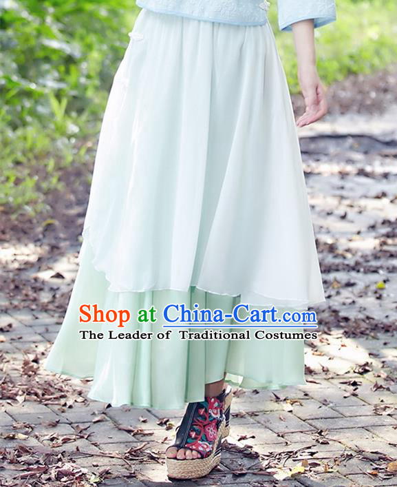 Traditional Ancient Chinese National Pleated Skirt Costume, Elegant Hanfu Chiffon Long Dress, China Tang Dynasty Bust Skirt for Women