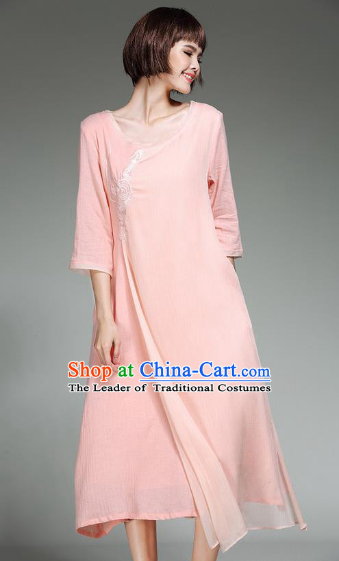Traditional Ancient Chinese Costume, Elegant Hanfu Clothing Pink Dress, China Tang Suit Long Dress for Women
