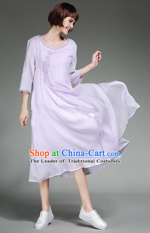 Traditional Ancient Chinese Costume, Elegant Hanfu Clothing Purple Dress, China Tang Suit Long Dress for Women