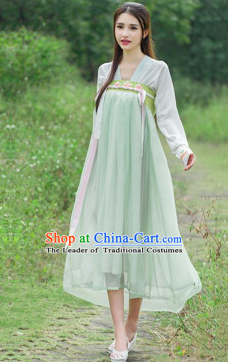 Traditional Ancient Chinese Costume, Elegant Hanfu Clothing Embroidered Blouse and Dress, China Tang Dynasty Princess Elegant Blouse and Ru Skirt Complete Set for Women
