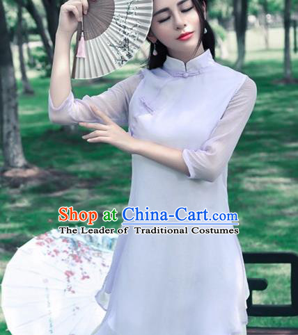 Traditional Chinese National Costume, Elegant Hanfu Silk Slant Opening Long Purple Blouse, China Tang Suit Republic of China Plated Buttons Blouse Cheongsam Upper Outer Garment Qipao Shirts Clothing for Women