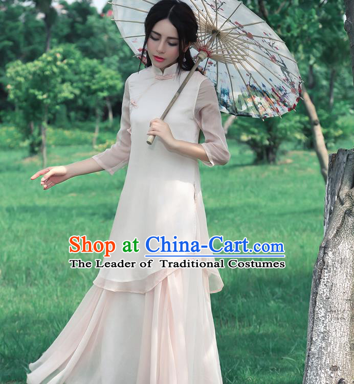 Traditional Chinese National Costume, Elegant Hanfu Silk Slant Opening Long Pink Blouse, China Tang Suit Republic of China Plated Buttons Blouse Cheongsam Upper Outer Garment Qipao Shirts Clothing for Women