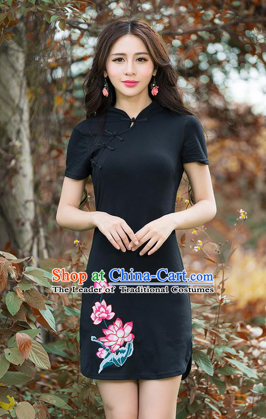 Traditional Ancient Chinese National Costume, Elegant Hanfu Slant Collar Mandarin Qipao Embroidery Black Dress, China Tang Suit Stand Collar Chirpaur Republic of China Cheongsam Upper Outer Garment Elegant Dress Clothing for Women