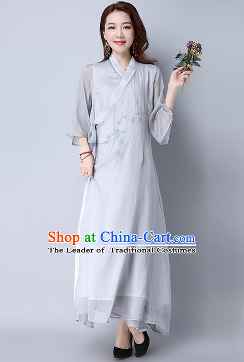 Traditional Ancient Chinese National Costume, Elegant Hanfu Mandarin Qipao Slant Opening Double-Deck Dress, China Tang Suit Chirpaur Republic of China Cheongsam Upper Outer Garment Elegant Dress Clothing for Women