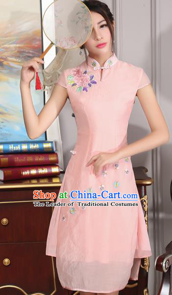 Traditional Ancient Chinese National Costume, Elegant Hanfu Mandarin Qipao Stand Collar Embroidery Pink Dress, China Tang Suit Chirpaur Republic of China Cheongsam Upper Outer Garment Elegant Dress Clothing for Women