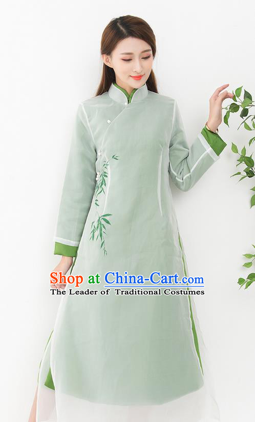 Traditional Ancient Chinese National Costume, Elegant Hanfu Mandarin Qipao Cotton Wadded Dress, China Tang Suit Cotton Wadded Chirpaur Republic of China Cheongsam Upper Outer Garment Elegant Dress Clothing for Women