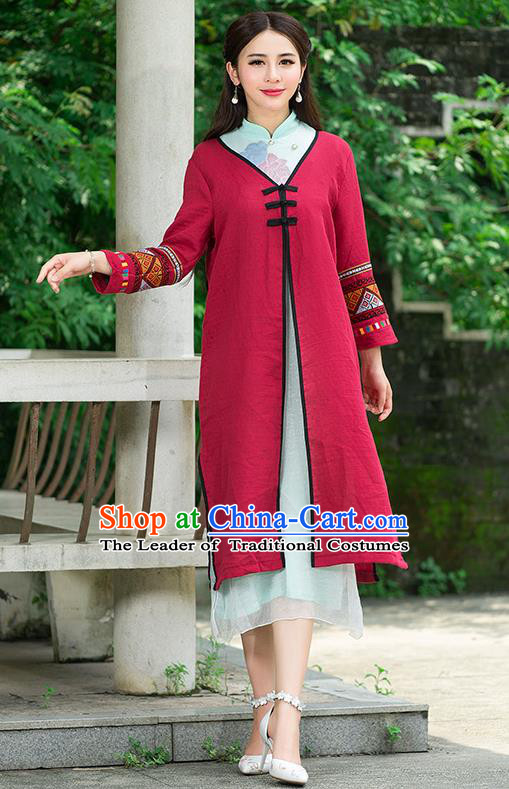 Traditional Ancient Chinese National Costume, Elegant Hanfu Red Embroidery Coat Robes, China Tang Suit Plated Buttons Cape, Upper Outer Garment Dust Coat Clothing for Women