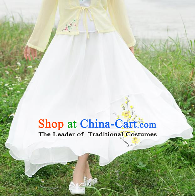 Traditional Ancient Chinese National Pleated Skirt Costume, Elegant Hanfu Linen Printing Long White Dress, China Tang Dynasty Bust Skirt for Women