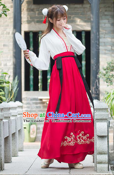 Traditional Ancient Chinese Costume, Elegant Hanfu Clothing Embroidered Blouse and Dress, China Tang Dynasty Princess Elegant Blouse and Red Ru Skirt Complete Set for Women