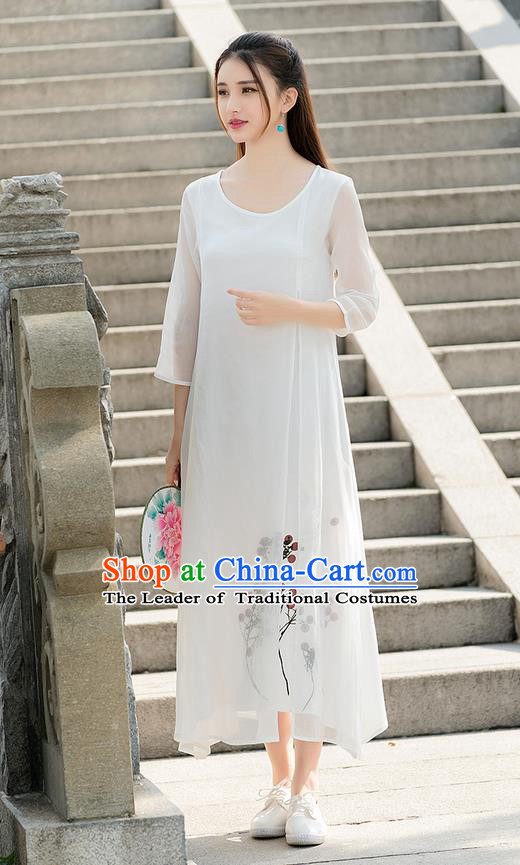 Traditional Ancient Chinese National Costume, Elegant Hanfu Printing Chiffon Long Dress, China Tang Suit Chirpaur Republic of China Cheongsam Upper Outer Garment Elegant Dress Clothing for Women