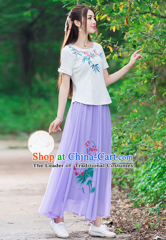 Traditional Ancient Chinese National Pleated Skirt Costume, Elegant Hanfu Chiffon Printing Lotus Long Purple Dress, China Tang Dynasty Bust Skirt for Women