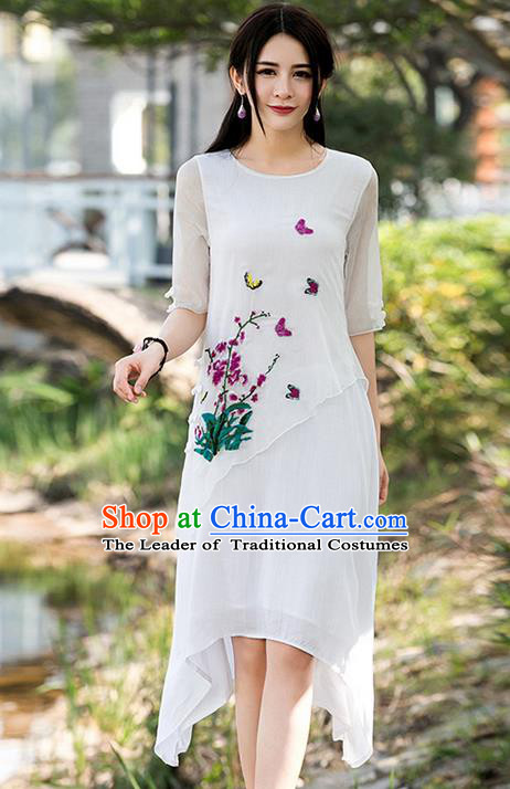 Traditional Ancient Chinese National Costume, Elegant Hanfu Qipao Linen Printing Dress, China Tang Suit Upper Outer Garment Elegant Dress Clothing for Women