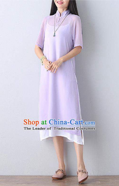 Traditional Ancient Chinese National Costume, Elegant Hanfu Mandarin Qipao Stand Collar Two-Piece Purple Chiffon Dress, China Tang Suit Plated Buttons Chirpaur Republic of China Cheongsam Upper Outer Garment Elegant Dress Clothing for Women