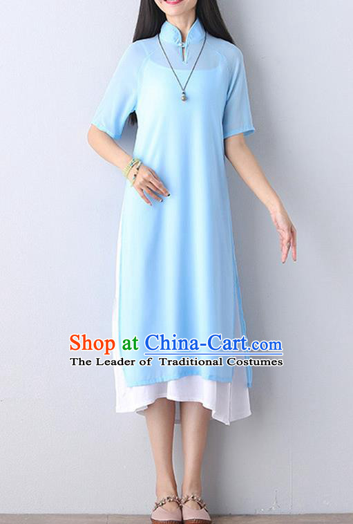 Traditional Ancient Chinese National Costume, Elegant Hanfu Mandarin Qipao Stand Collar Two-Piece Blue Chiffon Dress, China Tang Suit Plated Buttons Chirpaur Republic of China Cheongsam Upper Outer Garment Elegant Dress Clothing for Women