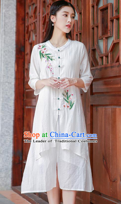 Traditional Ancient Chinese National Costume, Elegant Hanfu Embroidery Cardigan Linen White Coat, China Tang Suit Plated Buttons Cape, Upper Outer Garment Dust Coat Cloak Clothing for Women