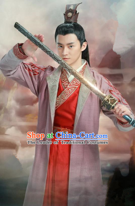 Traditional Ancient Chinese Swordsman Costume, Chinese Han Dynasty Jiang Hu Swordsman Dandies Robe, Cosplay Prince Nobility Childe Chinese Bladesman Hanfu Clothing for Men