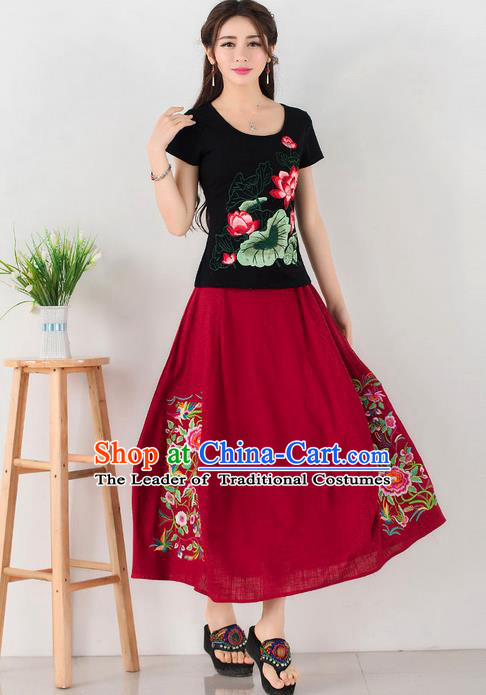 Traditional Ancient Chinese National Pleated Skirt Costume, Elegant Hanfu Embroidery Flowers Long Red Skirt, China Tang Dynasty Bust Skirt for Women
