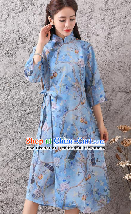 Traditional Ancient Chinese National Costume, Elegant Hanfu Mandarin Qipao Linen Stand Collar Dress, China Tang Suit Chirpaur Republic of China Cheongsam Upper Outer Garment Elegant Dress Clothing for Women