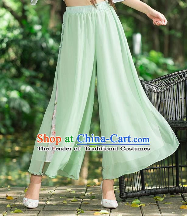 Traditional Chinese National Costume Loose Pants, Elegant Hanfu Embroidered Wide-leg Trousers, China Ethnic Minorities Folk Dance Baggy Pants for Women
