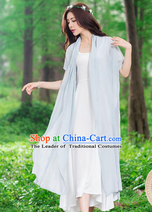 Traditional Ancient Chinese National Costume, Elegant Hanfu Embroidery Grey Cardigan, China Tang Suit Cape, Upper Outer Garment Dust Coat Cloak Clothing for Women