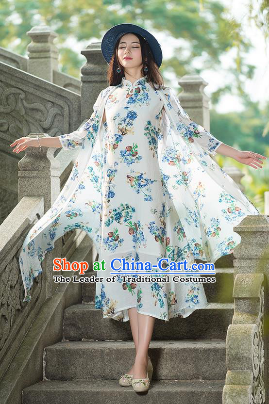 Traditional Ancient Chinese National Costume, Elegant Hanfu White Cardigan, China Tang Suit Cape, Upper Outer Garment Dust Coat Cloak Clothing for Women