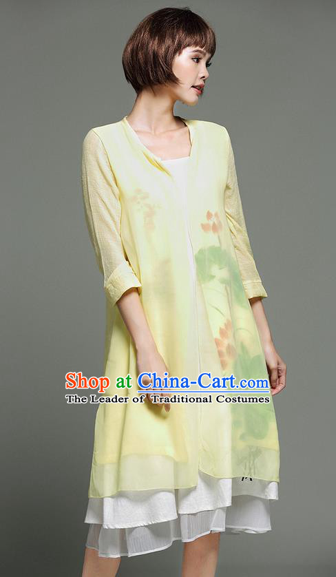 Traditional Ancient Chinese National Costume, Elegant Hanfu Yellow Cardigan, China Tang Suit Cape, Upper Outer Garment Dust Coat Cloak Clothing for Women