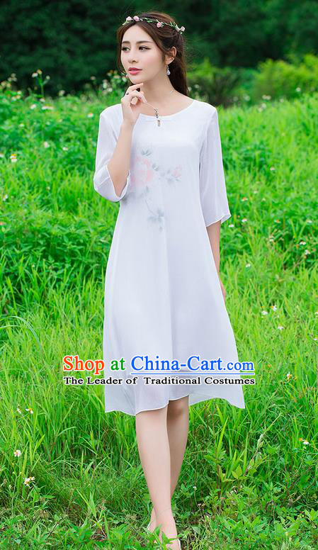 Traditional Ancient Chinese National Costume, Elegant Hanfu Mandarin Qipao Hand Painting White Dress, China Tang Suit National Minority Dance Chirpaur Republic of China Cheongsam Upper Outer Garment Elegant Dress Clothing for Women