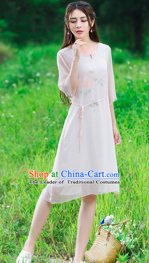 Traditional Ancient Chinese National Costume, Elegant Hanfu Mandarin Qipao Hand Painting Pink Dress, China Tang Suit National Minority Dance Chirpaur Republic of China Cheongsam Upper Outer Garment Elegant Dress Clothing for Women