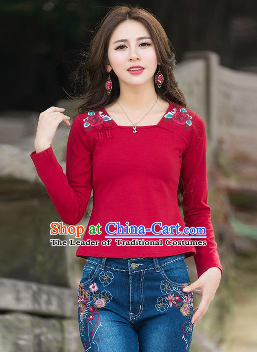 Traditional Chinese National Costume, Elegant Hanfu Embroidery Flowers Red T-Shirt, China Tang Suit Republic of China Plated Buttons Blouse Cheongsam Upper Outer Garment Qipao Shirts Clothing for Women