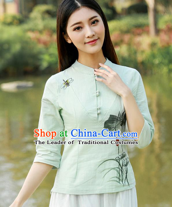 Traditional Chinese National Costume, Elegant Hanfu Hand Painting Lotus Flowers Black T-Shirt, China Tang Suit Republic of China Plated Buttons Blouse Cheongsam Upper Outer Garment Qipao Shirts Clothing for Women