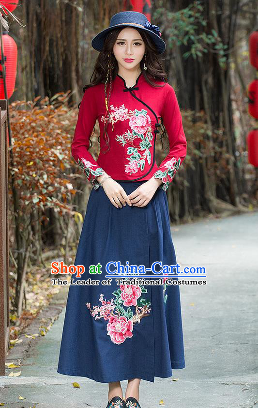 Traditional Chinese National Costume, Elegant Hanfu Hand Embroidery Flowers Red T-Shirt, China Tang Suit Republic of China Plated Buttons Blouse Cheongsam Upper Outer Garment Qipao Shirts Clothing for Women