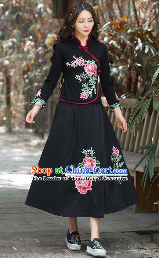 Traditional Chinese National Costume, Elegant Hanfu Hand Embroidery Flowers Black T-Shirt, China Tang Suit Republic of China Plated Buttons Blouse Cheongsam Upper Outer Garment Qipao Shirts Clothing for Women