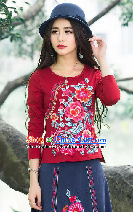 Traditional Chinese National Costume, Elegant Hanfu Embroidery Flowers Slant Opening Red T-Shirt, China Tang Suit Republic of China Blouse Cheongsam Upper Outer Garment Qipao Shirts Clothing for Women