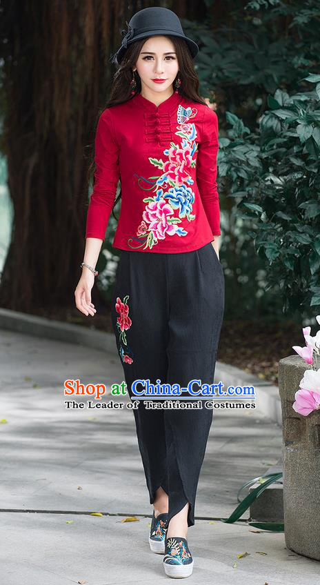 Traditional Chinese National Costume, Elegant Hanfu Embroidery Peony Flowers Stand Collar Red T-Shirt, China Tang Suit Republic of China Blouse Cheongsam Upper Outer Garment Qipao Shirts Clothing for Women