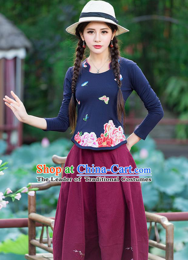 Traditional Chinese National Costume, Elegant Hanfu Embroidery Peony Flowers Navy T-Shirt, China Tang Suit Republic of China Blouse Cheongsam Upper Outer Garment Qipao Shirts Clothing for Women